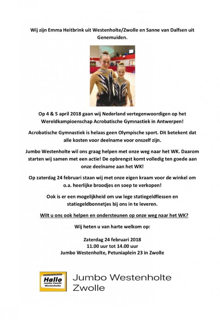 Een Wereldkampioen uit Westenholte ????? Help Emma en Sanne naar hun doel !!